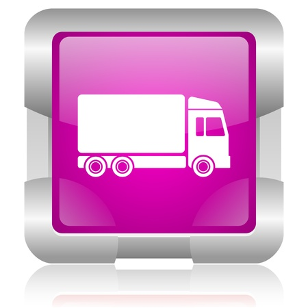 delivery service: modern oryginal violet square glossy internet icon with steel border on white background Stock Photo