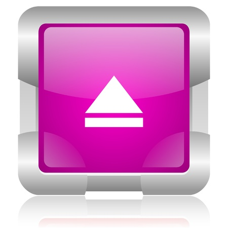 modern oryginal violet square glossy internet icon with steel border on white background Stock Photo - 18637987