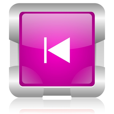 modern oryginal violet square glossy internet icon with steel border on white background Stock Photo - 18637980