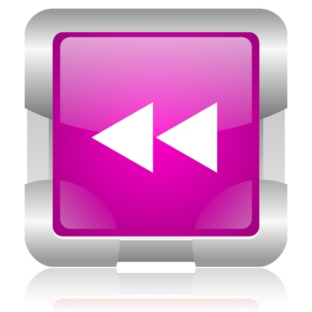 modern oryginal violet square glossy internet icon with steel border on white background Stock Photo - 18638001