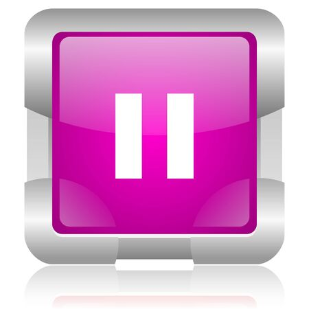 modern oryginal violet square glossy internet icon with steel border on white background Stock Photo - 18637963