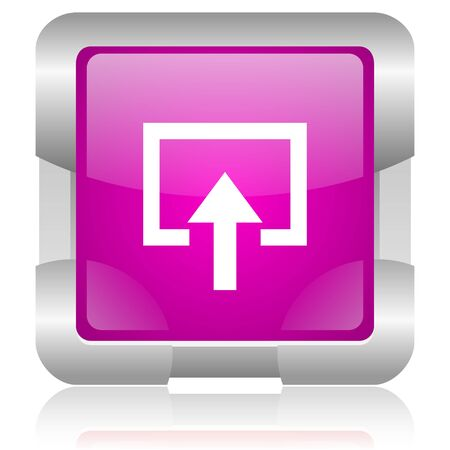 modern oryginal violet square glossy internet icon with steel border on white background photo