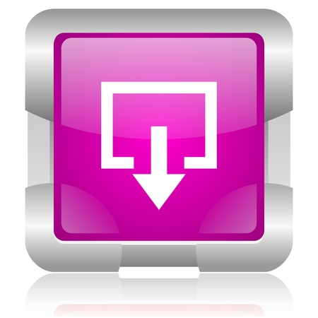 modern oryginal violet square glossy internet icon with steel border on white background Stock Photo - 18638032