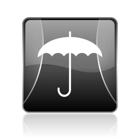 reflaction: black modern square web glossy icon on white background with reflaction Stock Photo