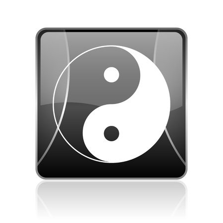 yang ying: black modern square web glossy icon on white background with reflaction Stock Photo