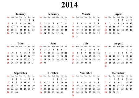 simple calendar 2014 on white background Stock Photo - 18747790