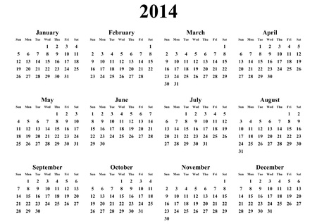 simple calendar 2014 on white background Stock Photo - 18747789