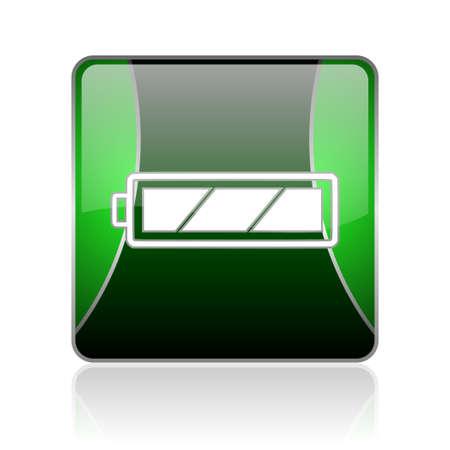 accuse: black and green square glossy internet icon on white background with reflaction Stock Photo