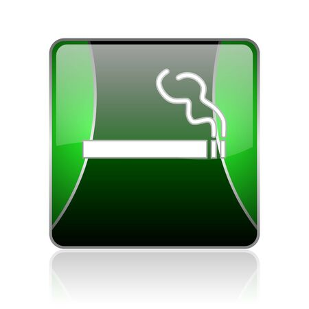 black and green square glossy internet icon on white background with reflaction photo