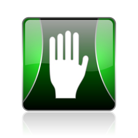 black and green square glossy internet icon on white background with reflaction Stock Photo - 18745797