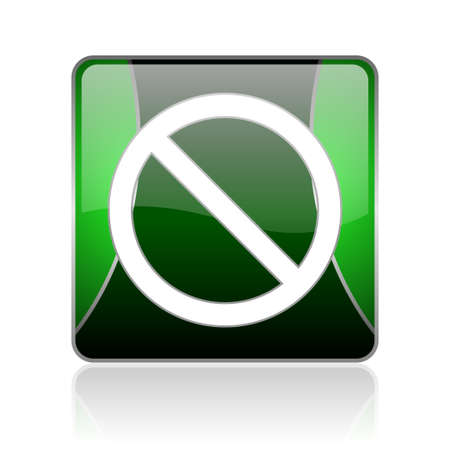 reflaction: black and green square glossy internet icon on white background with reflaction Stock Photo