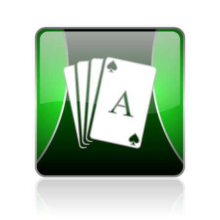 picto: black and green square glossy internet icon on white background with reflaction Stock Photo