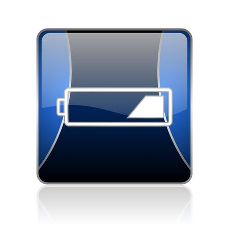 reflaction: black and blue square glossy internet icon on white background with reflaction