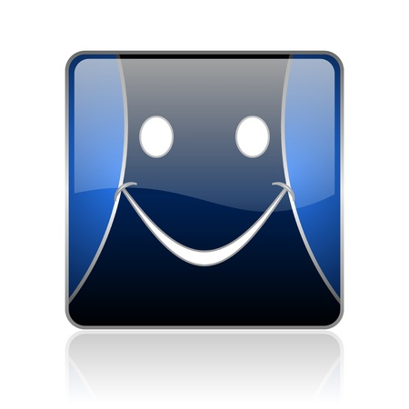 black and blue square glossy internet icon on white background with reflaction Stock Photo - 18887743