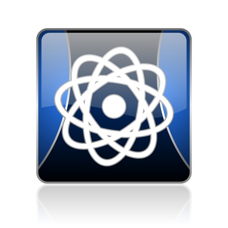 black and blue square glossy internet icon on white background with reflaction Stock Photo - 18888415