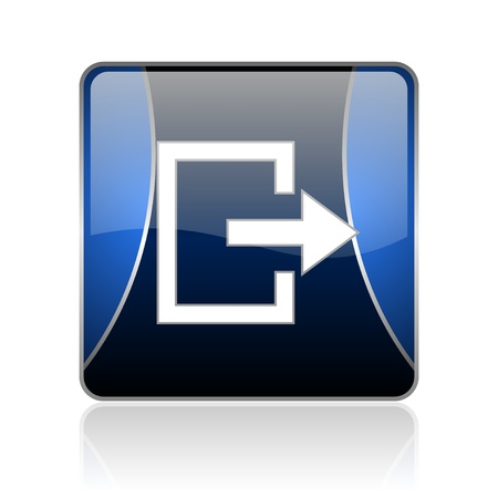 black and blue square glossy internet icon on white background with reflaction Stock Photo - 18887412