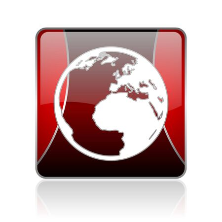 reflaction: black and red square glossy internet icon on white background with reflaction Stock Photo