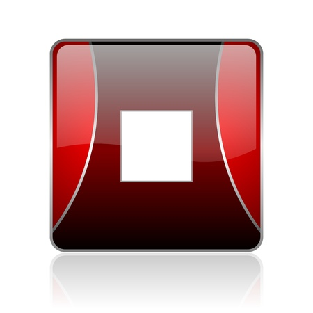 black and red square glossy internet icon on white background with reflaction Stock Photo - 18887294