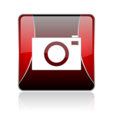 picto: black and red square glossy internet icon on white background with reflaction Stock Photo
