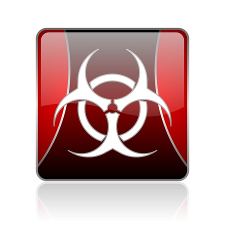 bacterioa: black and red square glossy internet icon on white background with reflaction Stock Photo