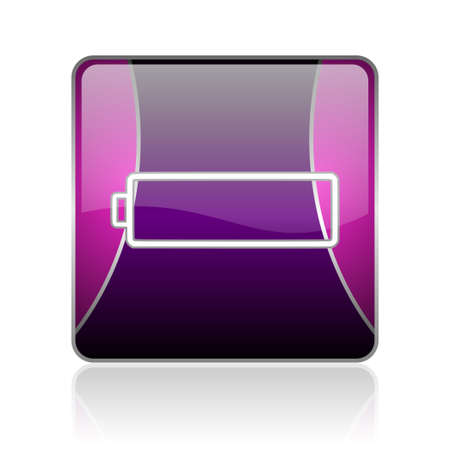 accuse: black and violet square glossy internet icon on white background with reflaction Stock Photo