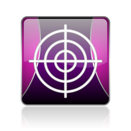 black and violet square glossy internet icon on white background with reflaction Stock Photo - 18888440