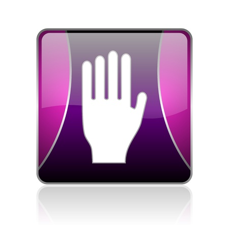 black and violet square glossy internet icon on white background with reflaction Stock Photo - 18887524