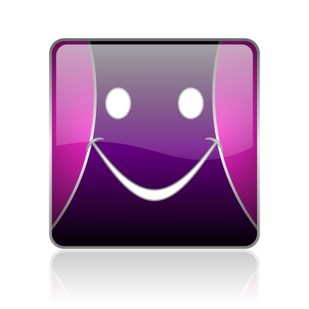 black and violet square glossy internet icon on white background with reflaction Stock Photo - 18887937
