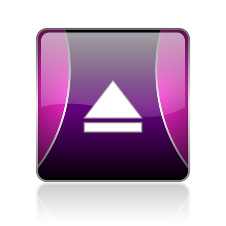 black and violet square glossy internet icon on white background with reflaction Stock Photo - 18887449