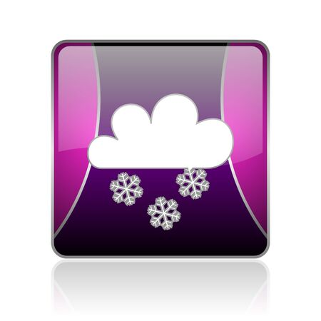 reflaction: black and violet square glossy internet icon on white background with reflaction Stock Photo