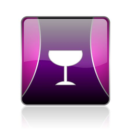 black and violet square glossy internet icon on white background with reflaction Stock Photo - 18887423