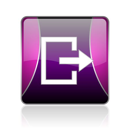 black and violet square glossy internet icon on white background with reflaction Stock Photo - 18887637