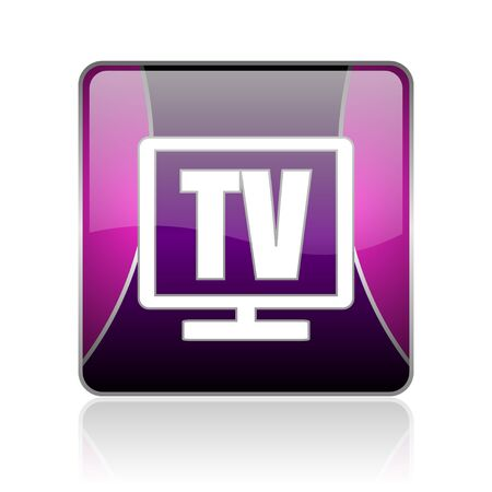 black and violet square glossy internet icon on white background with reflaction photo