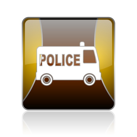highway patrol: golden square glossy web icon on white background with refection Stock Photo