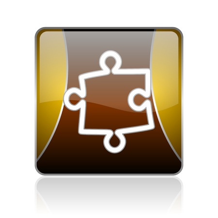 golden square glossy web icon on white background with refection photo