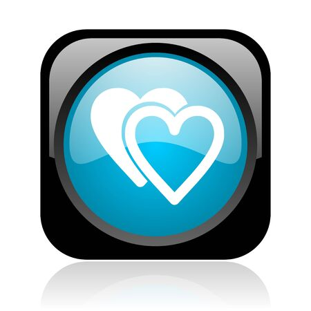 love black and blue square web glossy icon  photo