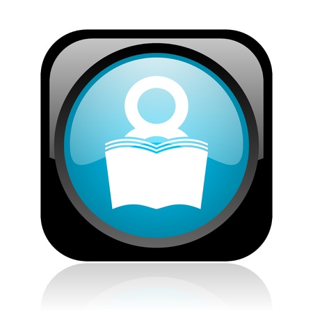 book black and blue square web glossy icon  photo