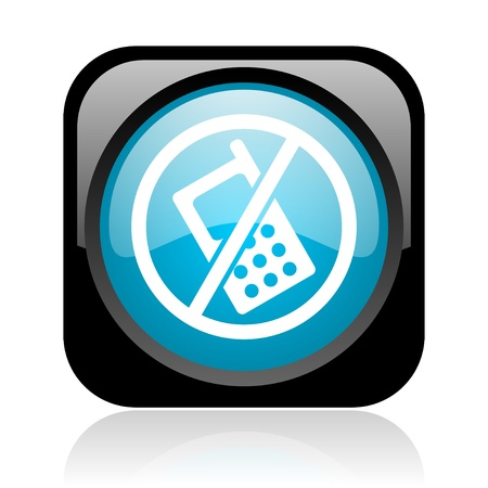 no phones black and blue square web glossy icon  photo