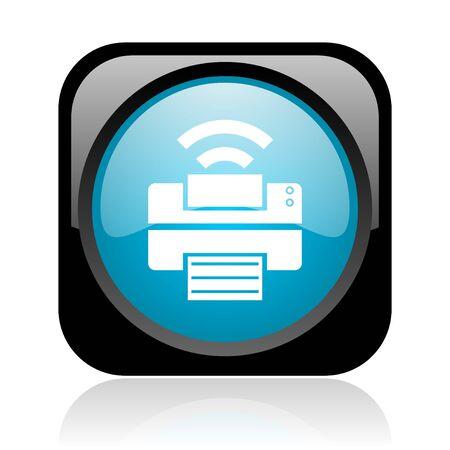 print black and blue square web glossy icon  photo
