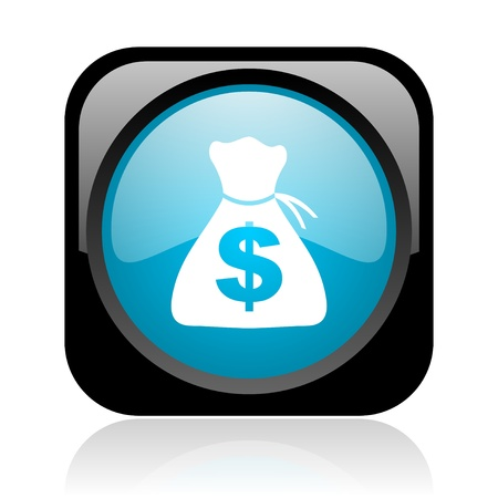 money black and blue square web glossy icon  photo