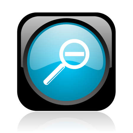magnification black and blue square web glossy icon Stock Photo - 18917801