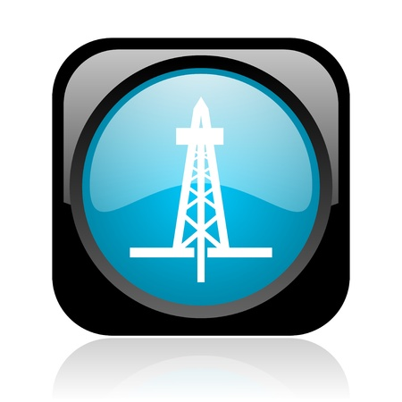 drilling black and blue square web glossy icon  photo