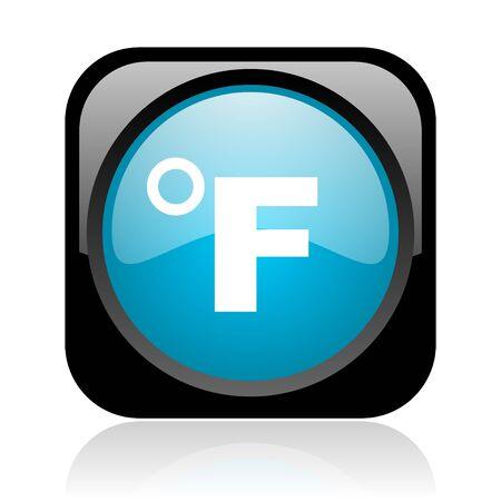 fahrenheit: fahrenheit cuadrado negro y azul brillante icono web