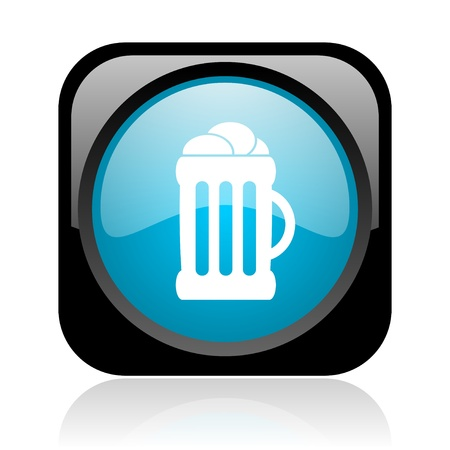 cereal bar: beer black and blue square web glossy icon  Stock Photo
