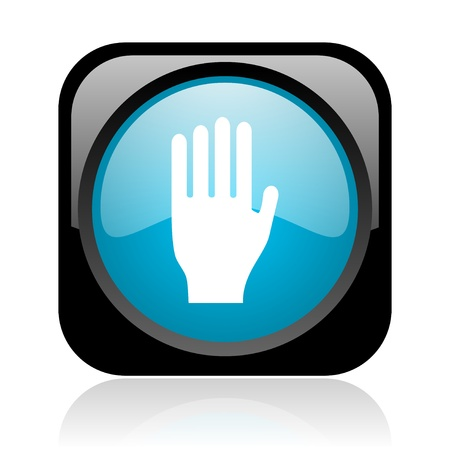 stop black and blue square web glossy icon Stock Photo - 18918092