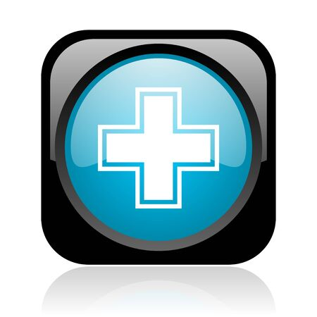 pharmacy black and blue square web glossy icon  photo