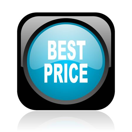 best price black and blue square web glossy icon