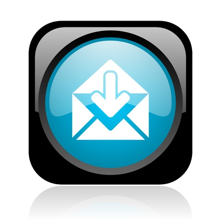 mail black and blue square web glossy icon Stock Photo - 18917788