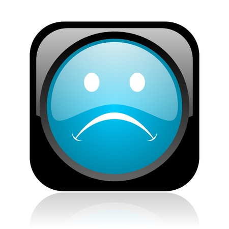 cry black and blue square web glossy icon Stock Photo - 18917940