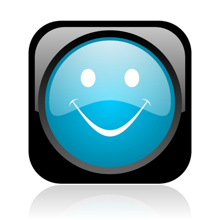 smile black and blue square web glossy icon Stock Photo - 18917864